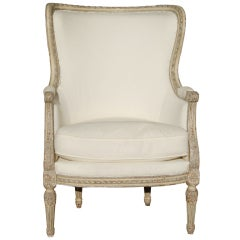Louis XVI Style 19th Century Painted Bergere