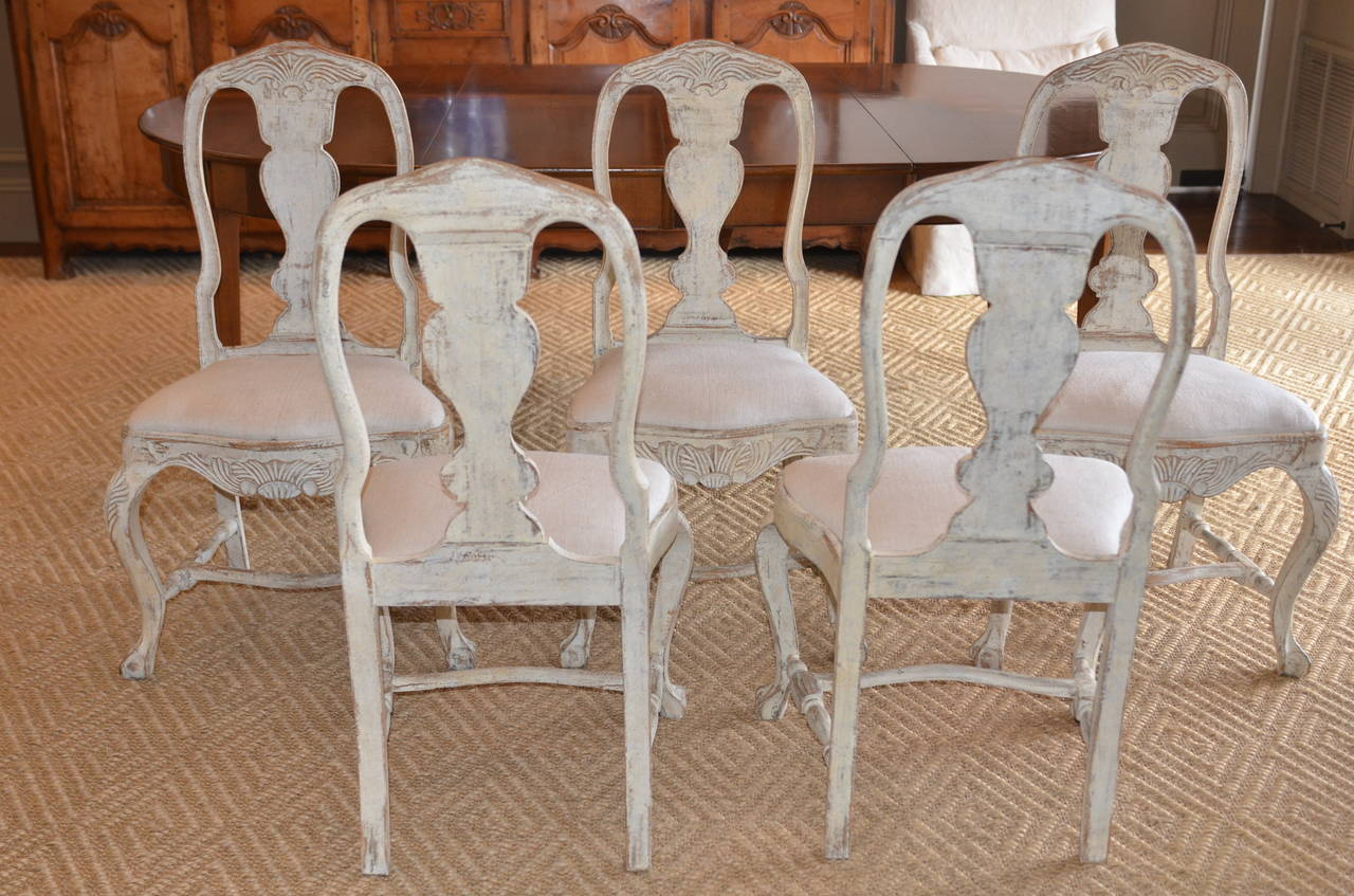 Set of Six Swedish Rococo Style Chairs For Sale 5