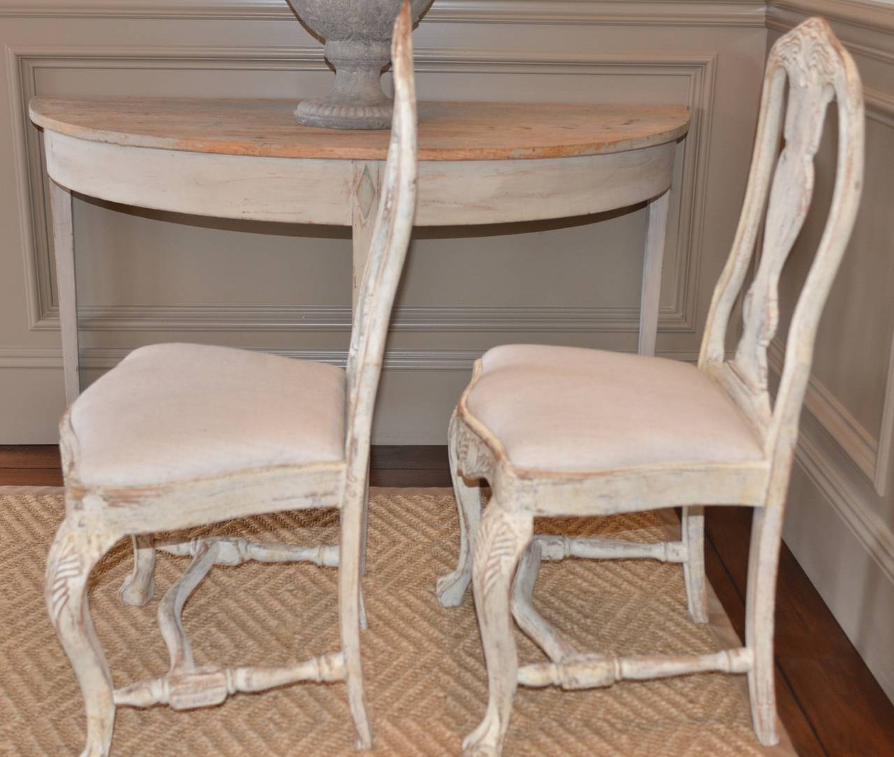 Set of Six Swedish Rococo Style Chairs For Sale 3
