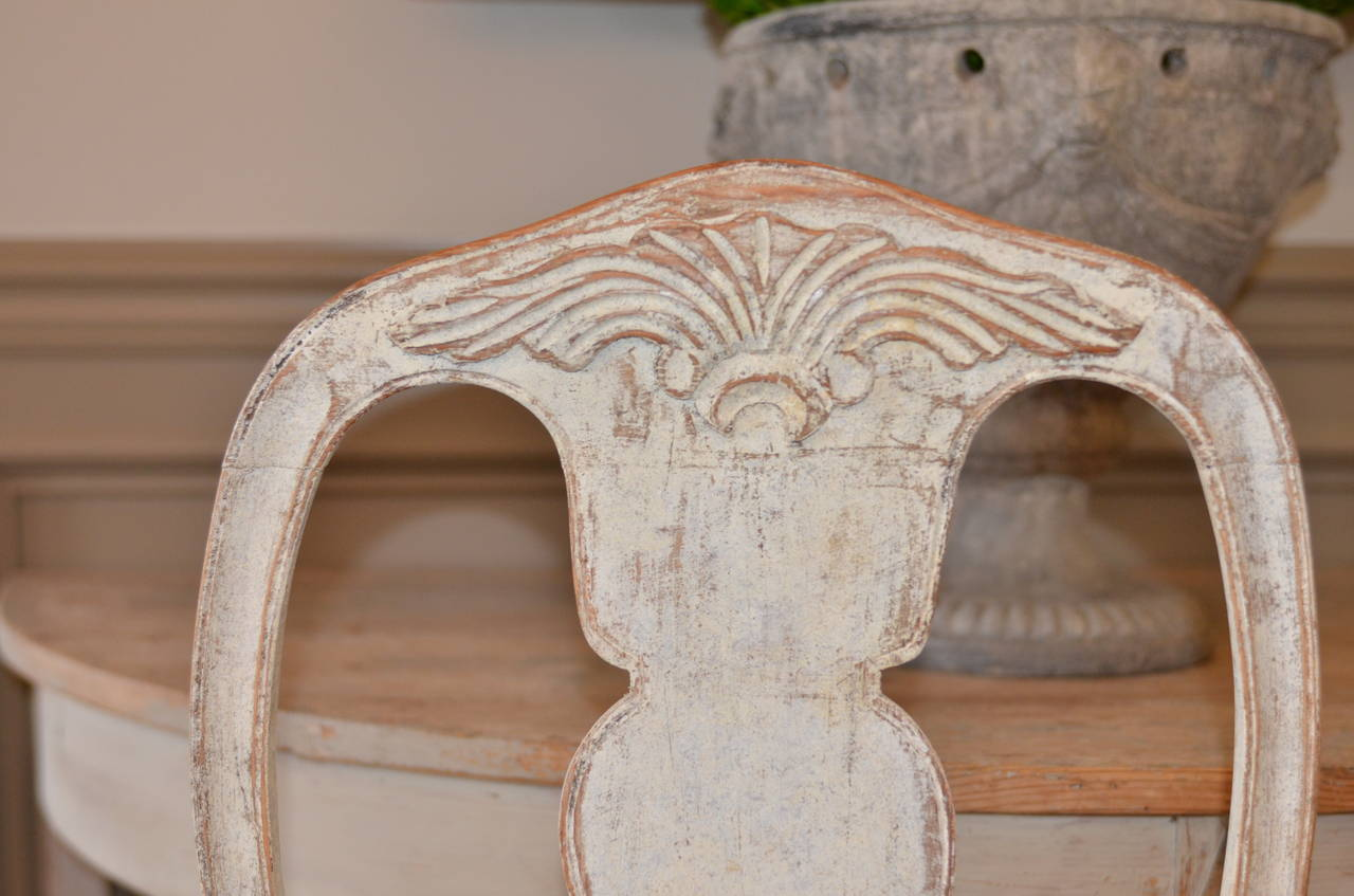 Set of Six Swedish Rococo Style Chairs For Sale 4