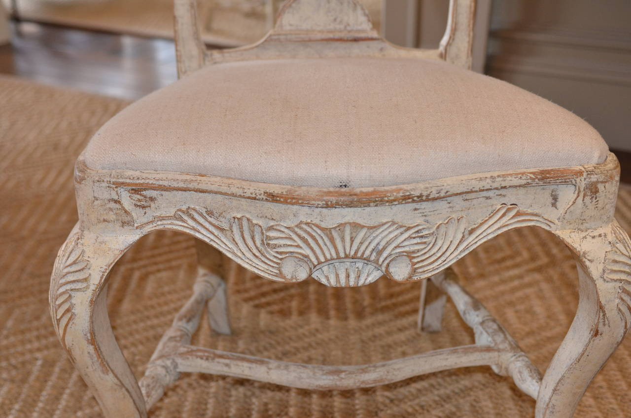 Set of Six Swedish Rococo Style Chairs For Sale 2