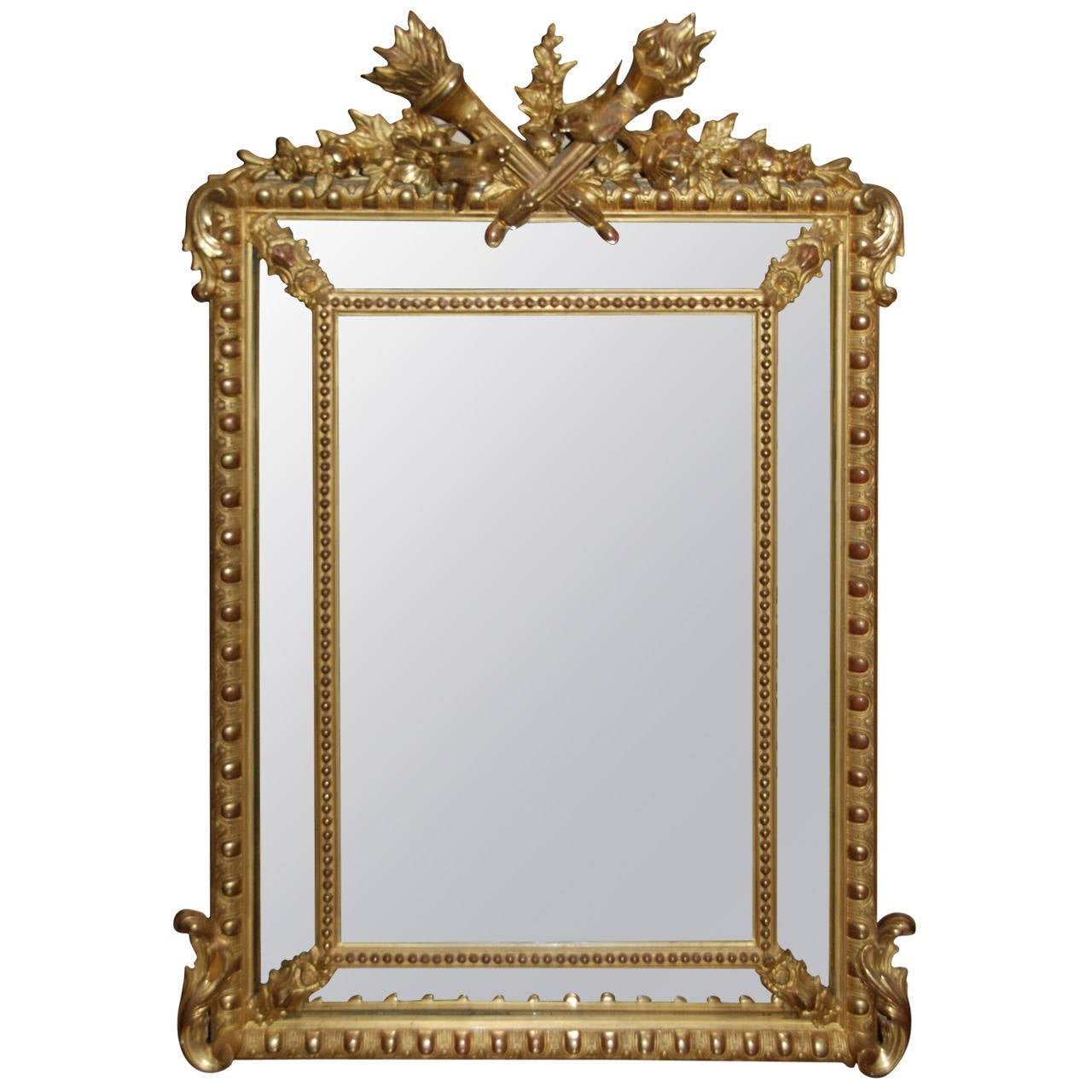 French Regency Gilded Mirror Facette For Sale