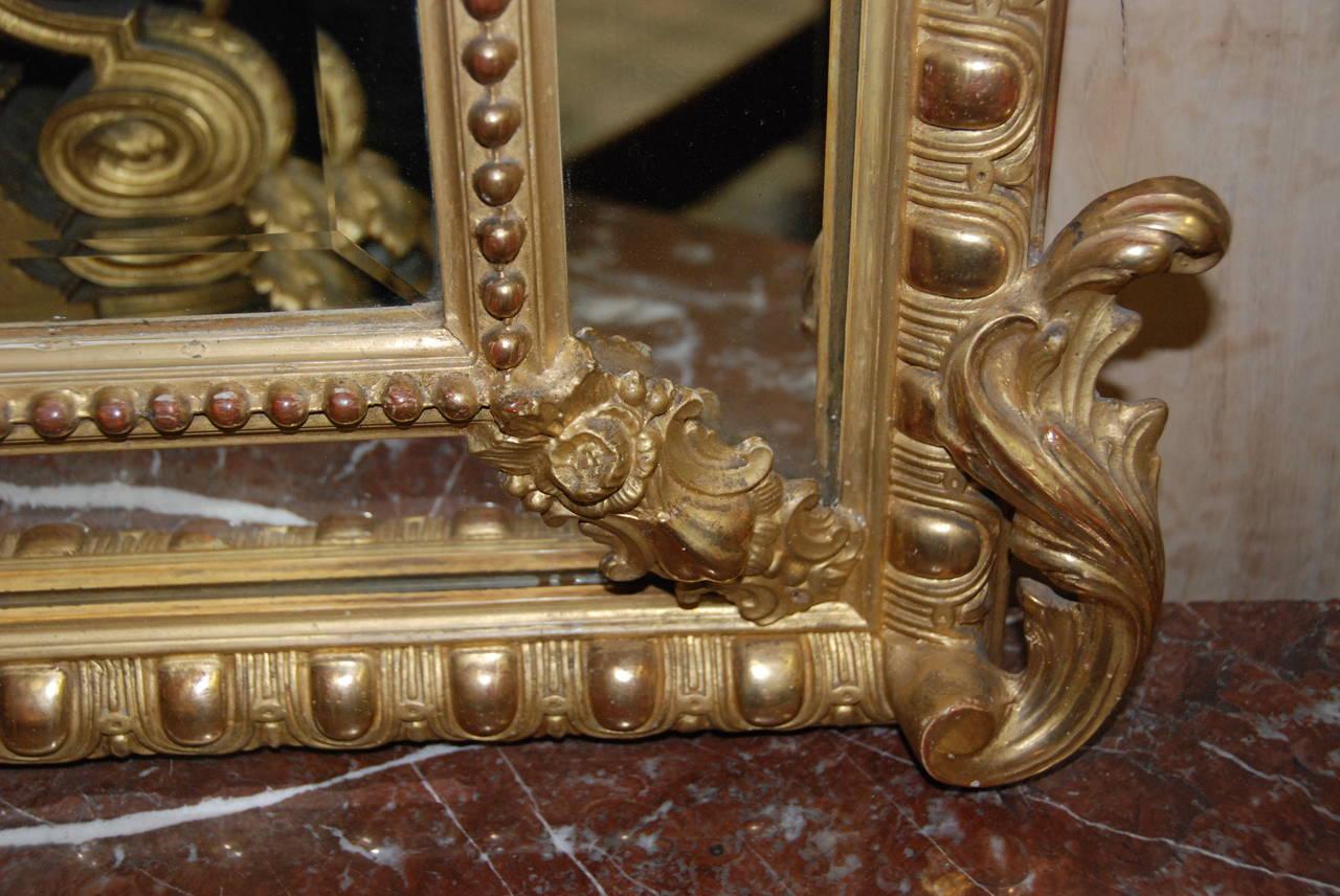 French Regency Gilded Mirror Facette For Sale 5