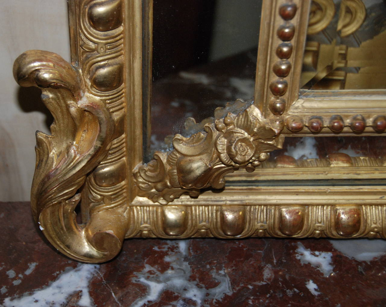French Regency Gilded Mirror Facette For Sale 4