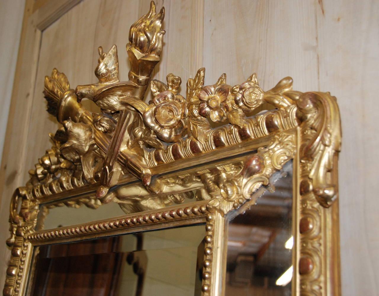 French Regency Gilded Mirror Facette For Sale 3
