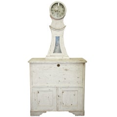 Gustavian Clock Cupboard Secretaire
