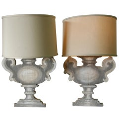 Pair of Italian Porte Luna Wooden Table Lamps