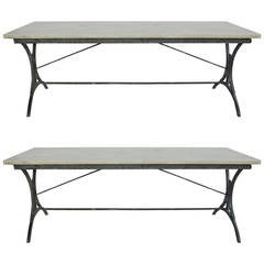 Pair of 19th Century Italian Iron Marble-Top Tables
