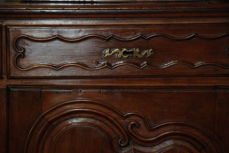 Glass 18th Century Walnut Buffet a Deux Corps For Sale