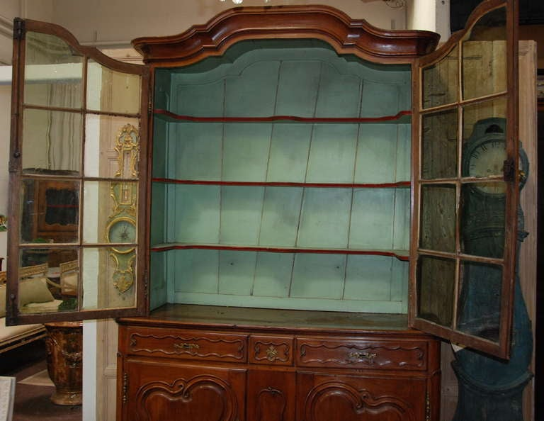 French 18th Century Walnut Buffet a Deux Corps For Sale