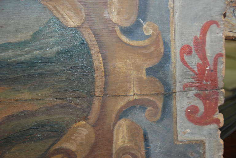 Original 19th Century Italian Painted Wood Panel In Good Condition For Sale In Encinitas, CA