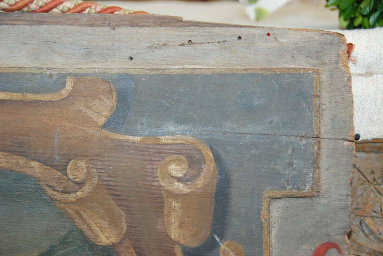 Original 19th Century Italian Painted Wood Panel For Sale 1