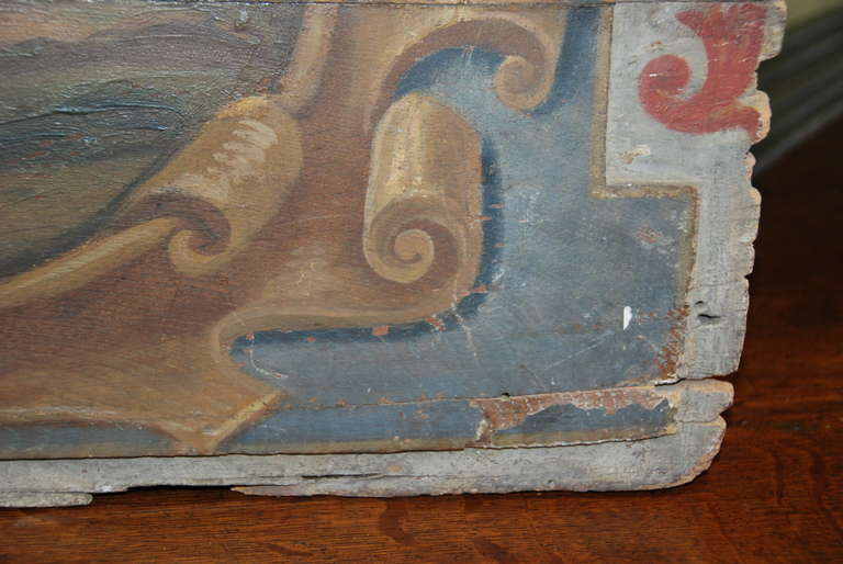 Original 19th Century Italian Painted Wood Panel For Sale 3