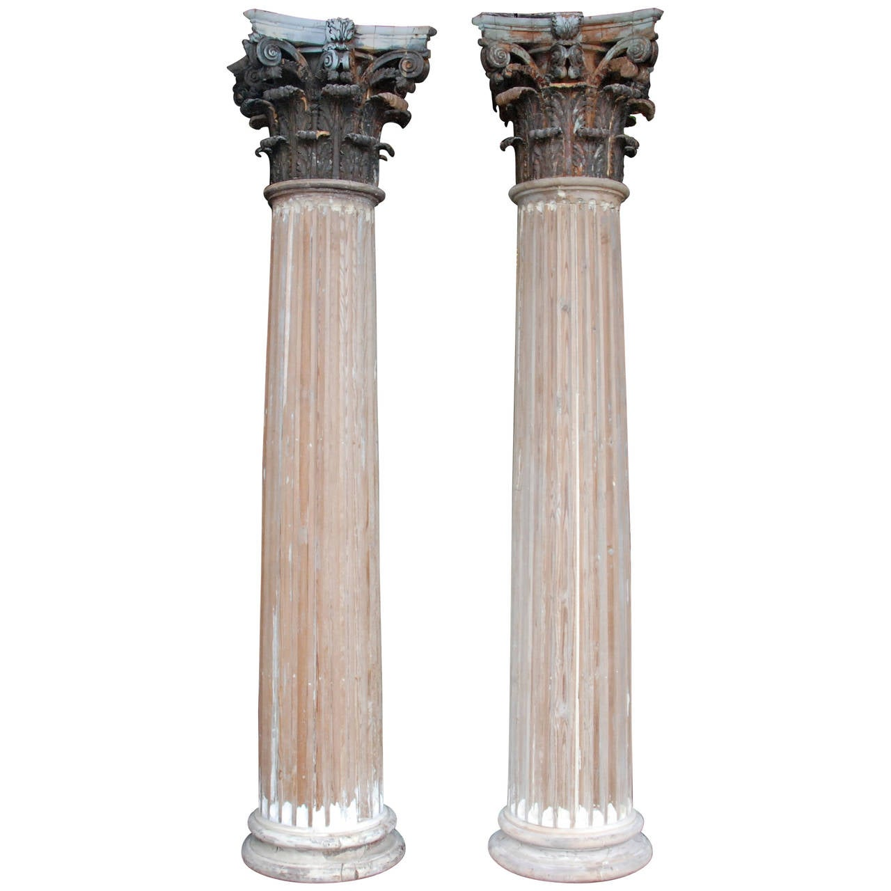 Build Wood Columns : Pair of th century wood columns for sale at stdibs