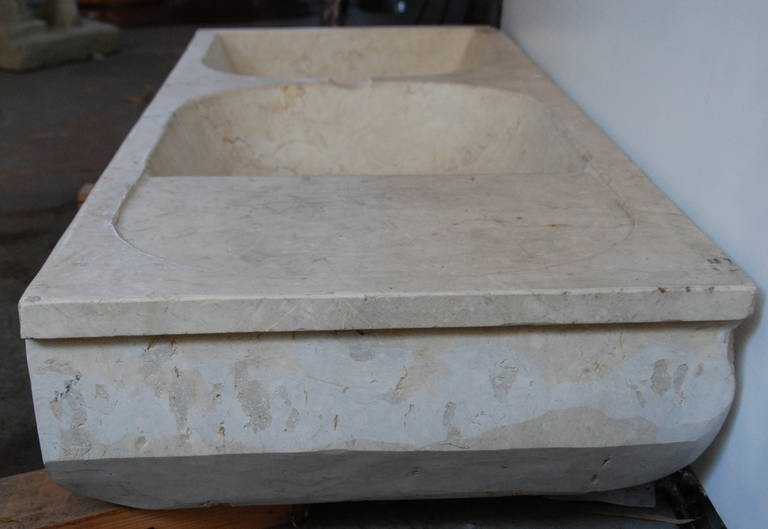 French Stone Sink : 19th Century French Stone Double Sink at 1stdibs