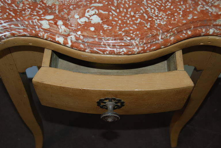 French 19th Century Marble-Top Bedside Table In Good Condition For Sale In Encinitas, CA