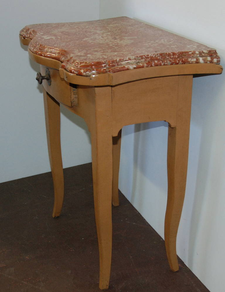 French 19th Century Marble-Top Bedside Table For Sale 2