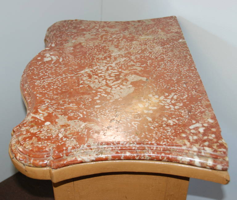 French 19th century marble-top table with lovely arbalete top and front. Original carved 19th century marble.