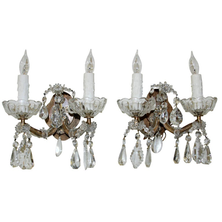 French Crystal Wall Sconces : Pair of French Crystal Sconces at 1stdibs