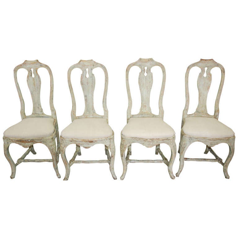 Set Of 4 Swedish Period Rococo Dining Chairs At 1stdibs