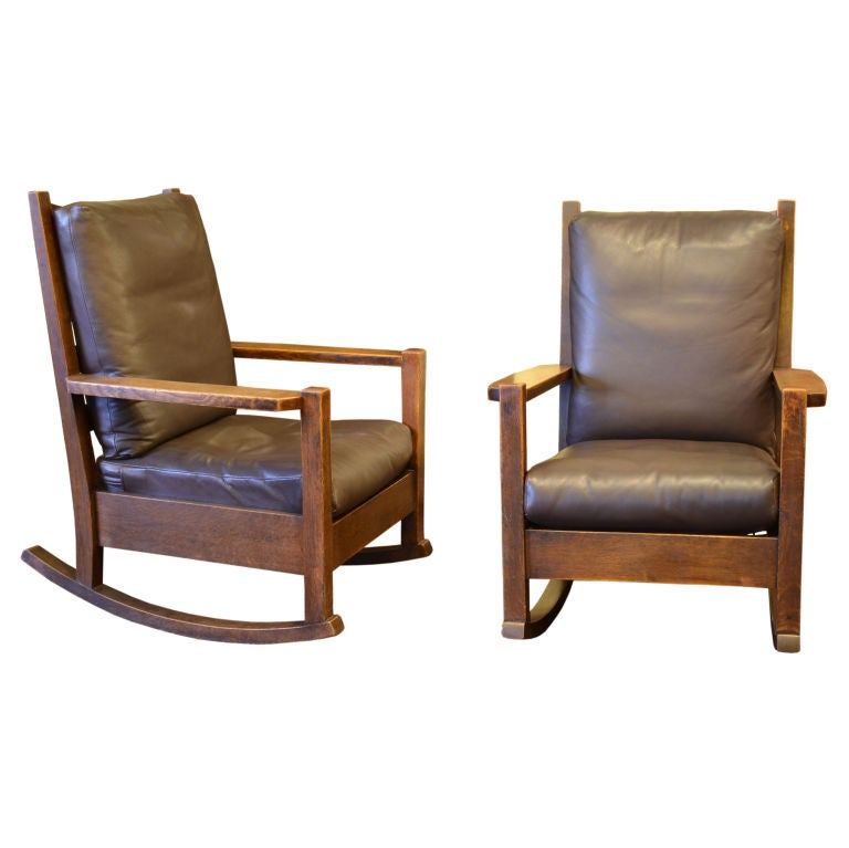 Pair Of Early Rocking Chairs By Gustav Stickley At 1stdibs