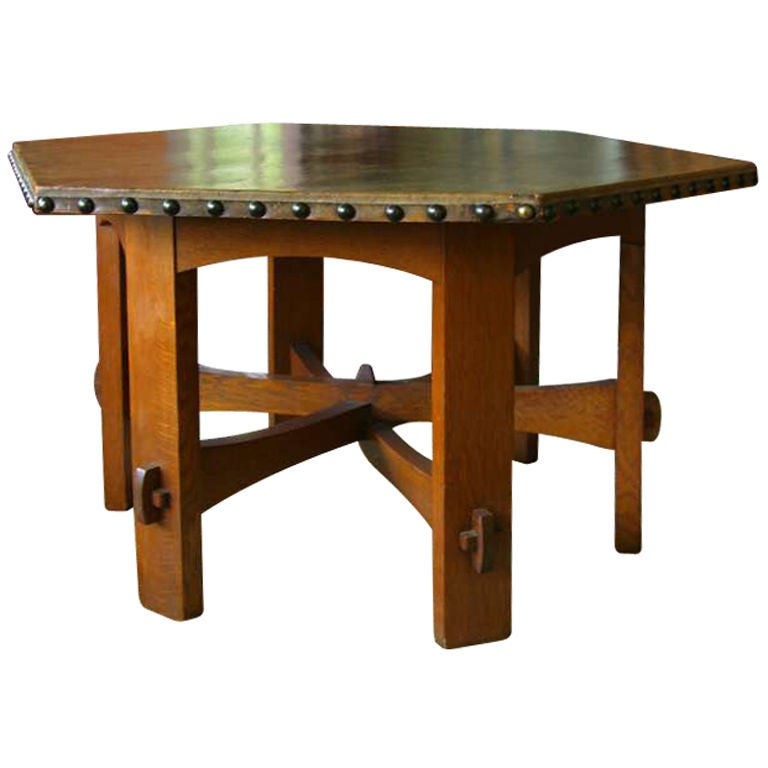 Hexagonal Leather Top Table By Gustav Stickley At 1stdibs
