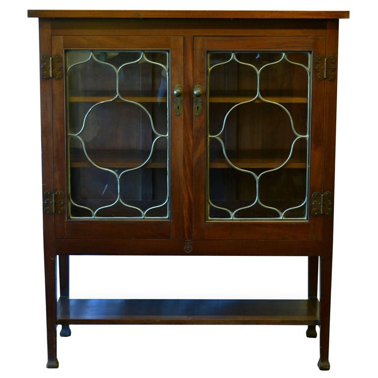 Leaded Glass China Cabinet by Roycroft Shops at 1stdibs