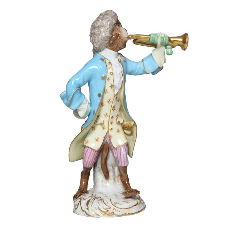 Early Meissen Porcelain, Singerie Style Monkey Musician Figurine For Sale