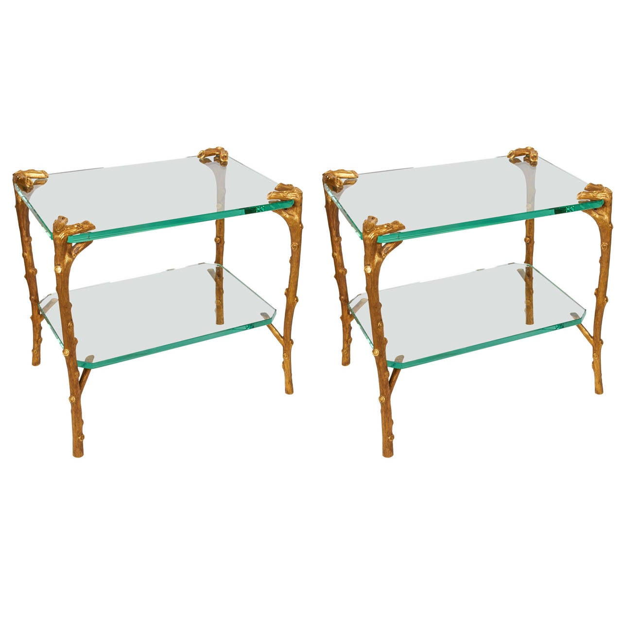 pair of art deco bronze and glass side tables or coffee tables by  - pair of art deco bronze and glass side tables or coffee tables by p eguerin