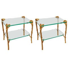 Pair of Art Deco Bronze and Glass Side Tables or Coffee Tables by P. E. Guerin