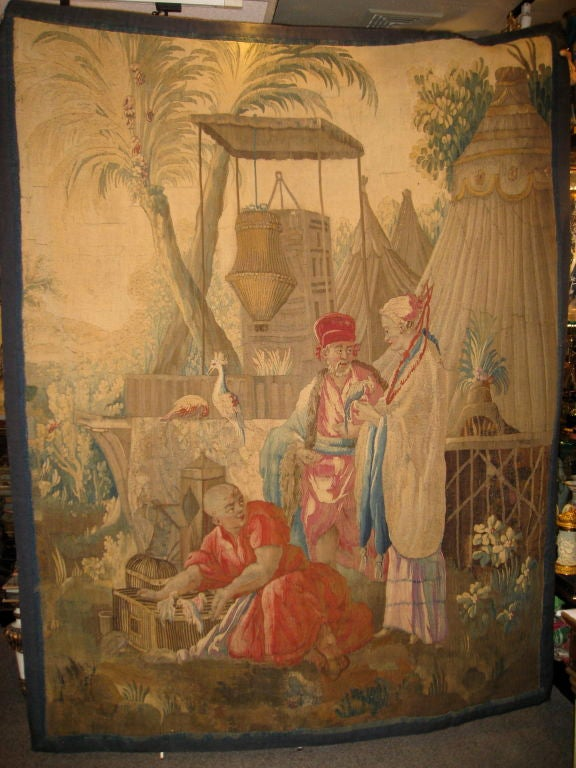 A magnificent French Louis XV BEAUVAIS Chinoiserie Tapestry of the Empreor In the Royal Gardens, mid to late 1700's, Paris
