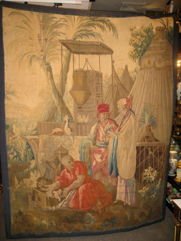 French 18th century Louis XV Beauvais Chinoiserie Taoestry of Emperor In Good Condition For Sale In New York, NY