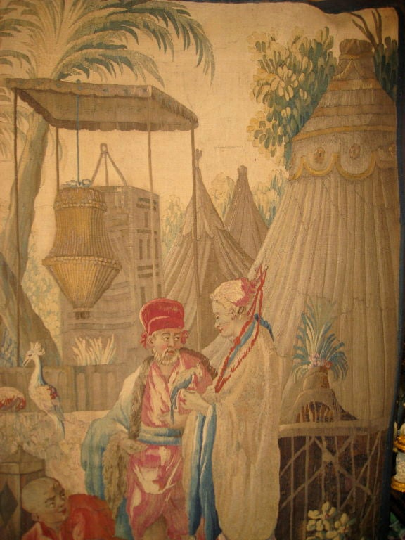 French 18th century Louis XV Beauvais Chinoiserie Taoestry of Emperor For Sale 3