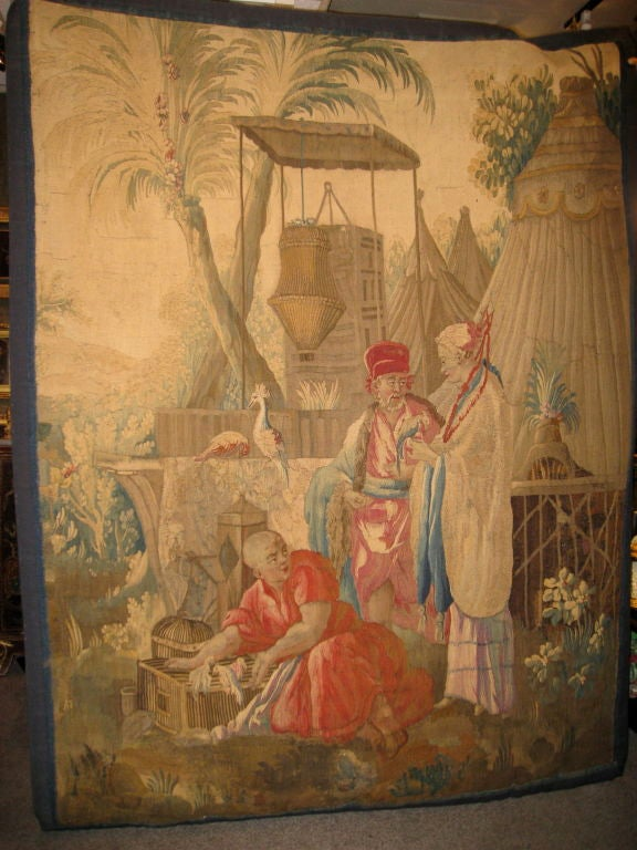 French 18th century Louis XV Beauvais Chinoiserie Taoestry of Emperor For Sale 4