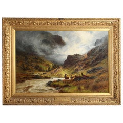 """Charles Stuart """"Their Mountain Home"""" Oil on Canvas, Signed, 1895-1897"""
