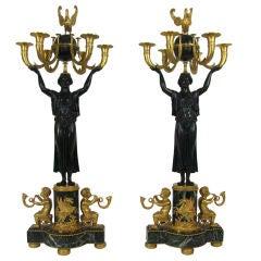 Unusual Pair Of Russian Empire Figural Bronze Candelabras