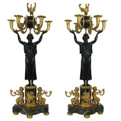 Unusual Pair Of Russian Empire Figural Bronze Candelabras