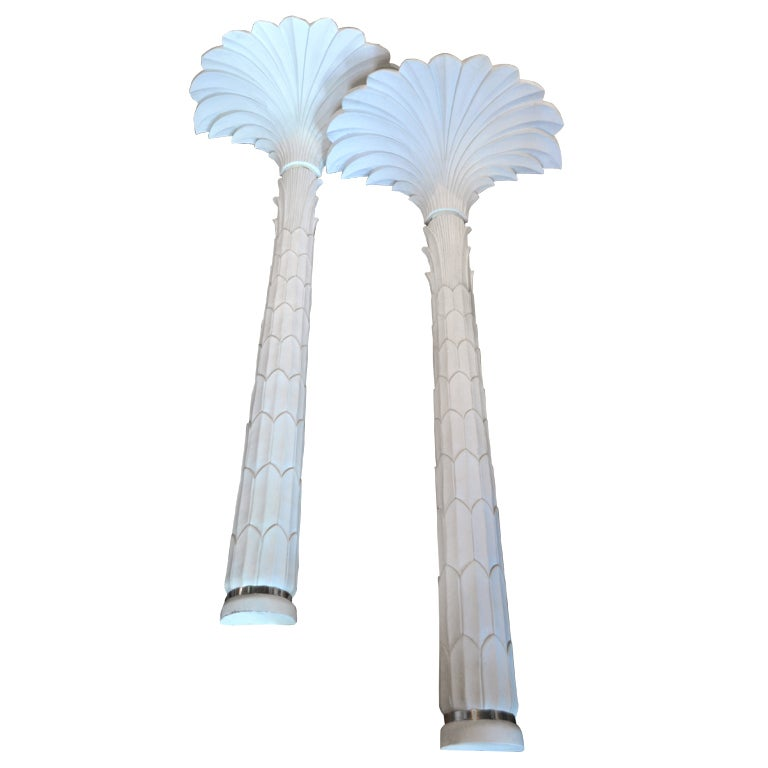 Wall Torchiere Lamps : Serge Roche Style Palm Wall Torchiere Floor Lamps at 1stdibs