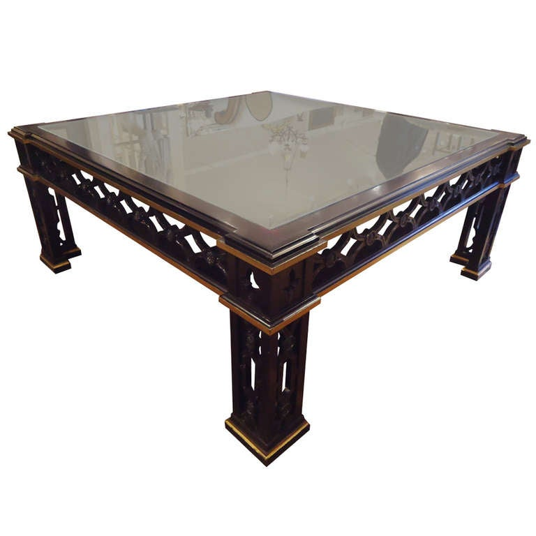 Ebonized and giltwood large square coffee table at 1stdibs Large square coffee table