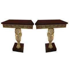 Elegant Pair of Lion Head and Paw Consoles
