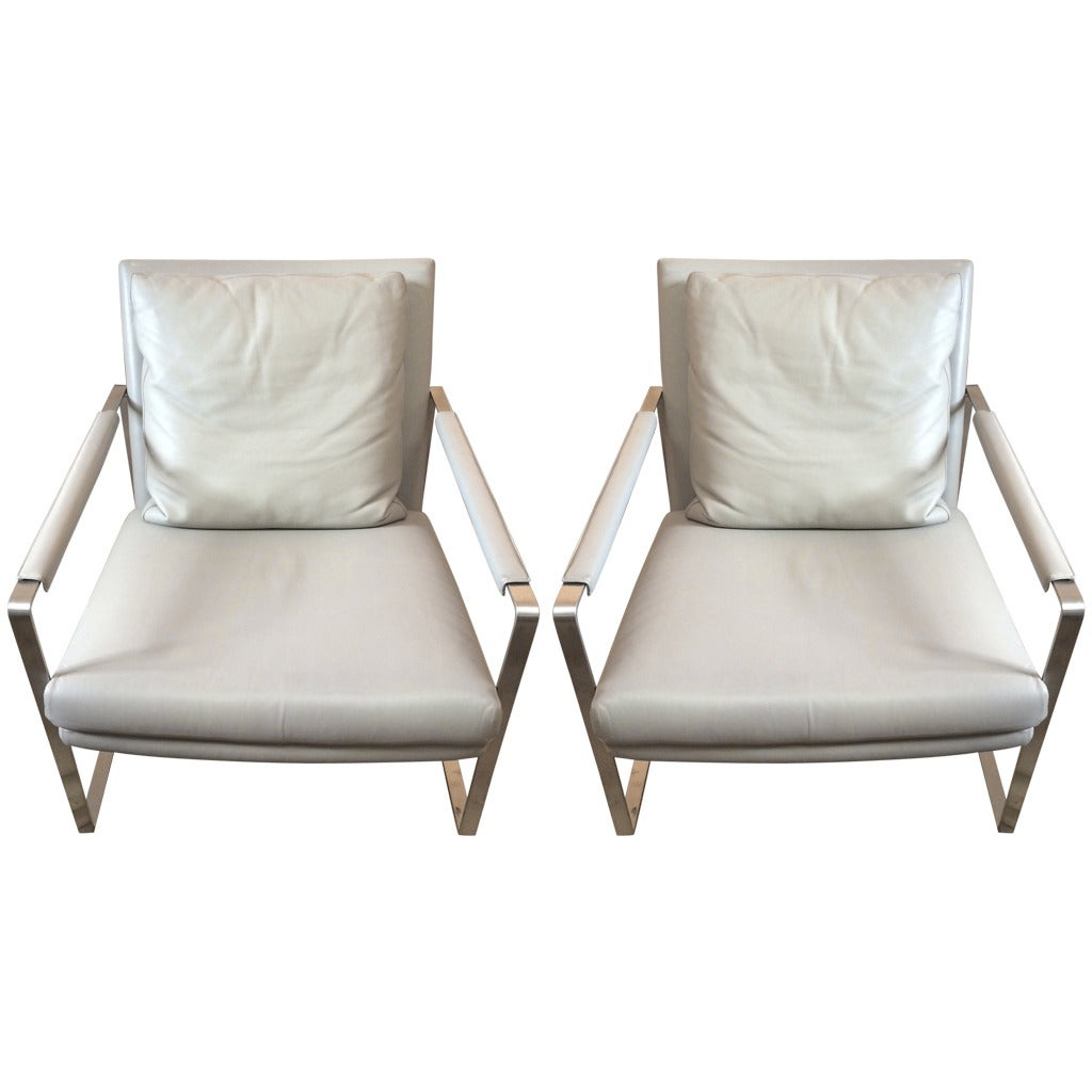 Pair of sleek and sexy grey leather mid century modern for Mid century modern leather chairs