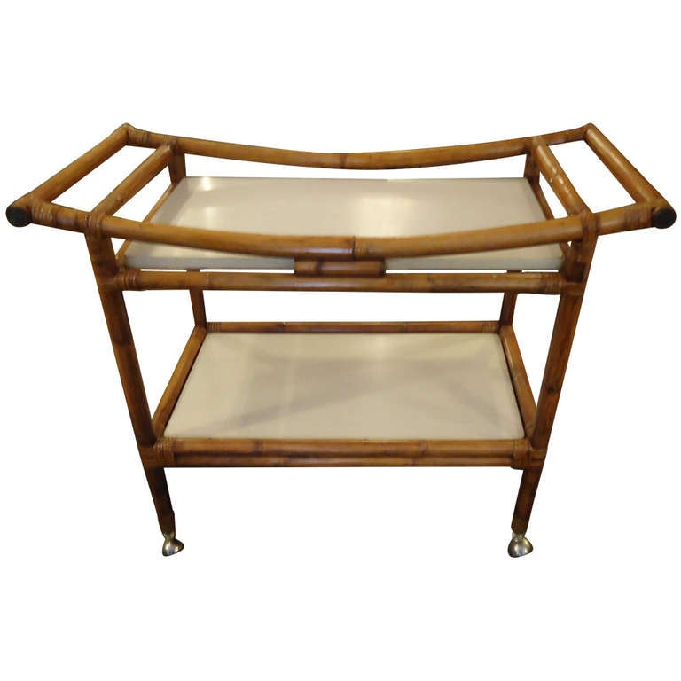 Bamboo And Laminate Midcentury Bar Cart With Asian Flair At 1stdibs