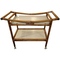Bamboo and Laminate Midcentury Bar Cart with Asian Flair