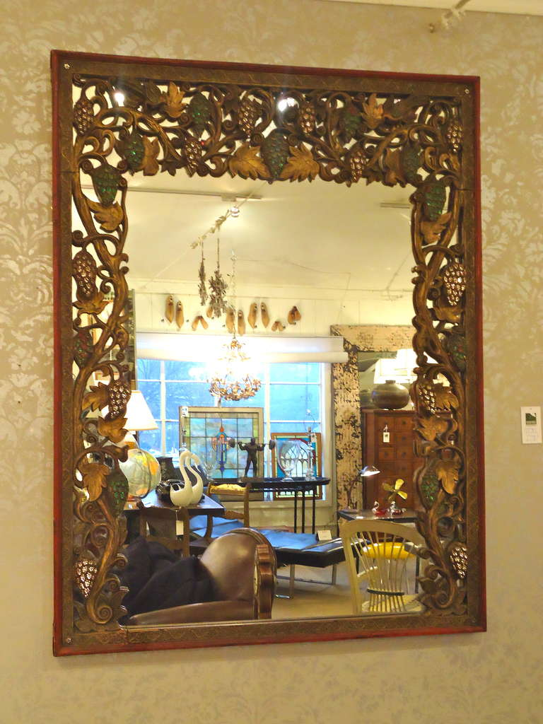 Intricate Tibetan Carved Wood Mirror at 1stdibs