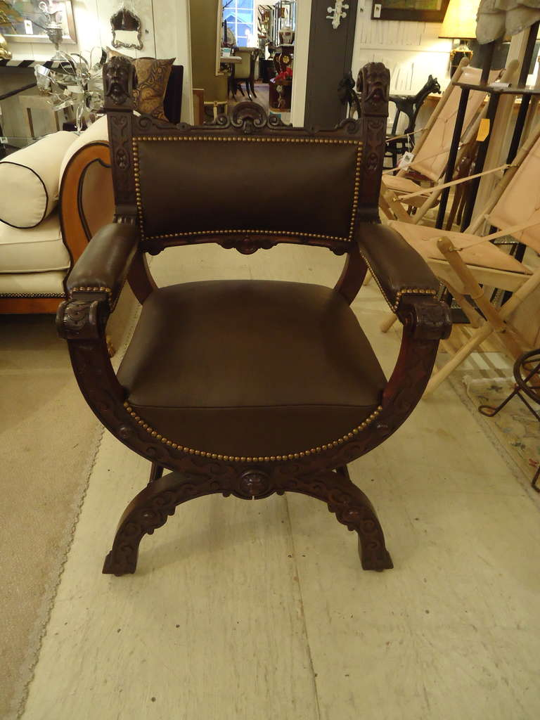 Stately Pair Of Carved Mahogany Throne Like Chairs, Decorative Lions And  Faces Adorn The Sculptural