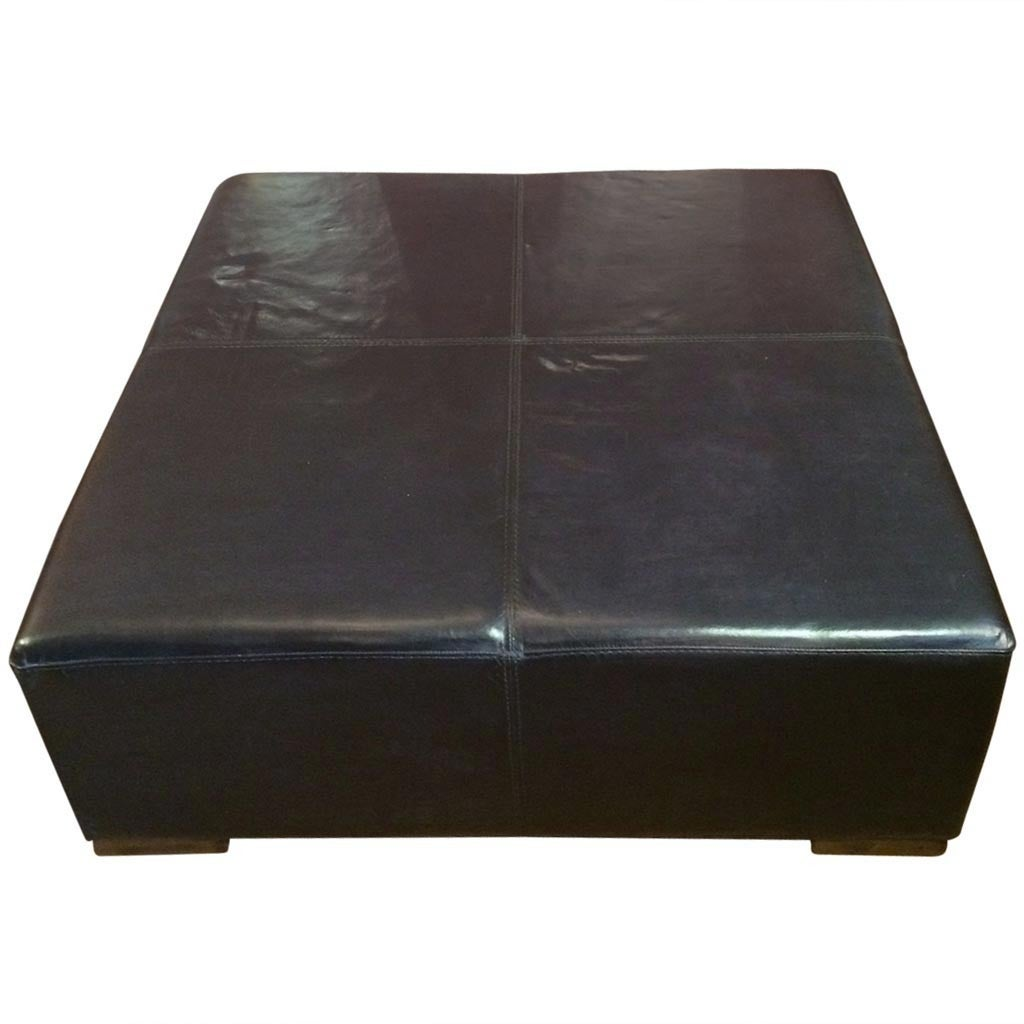 Large Square Supple Leather Ottoman Coffeetable At 1stdibs