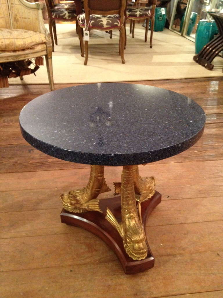 Vintage Marble And Gilded Dolphin Motif Cocktail Table At