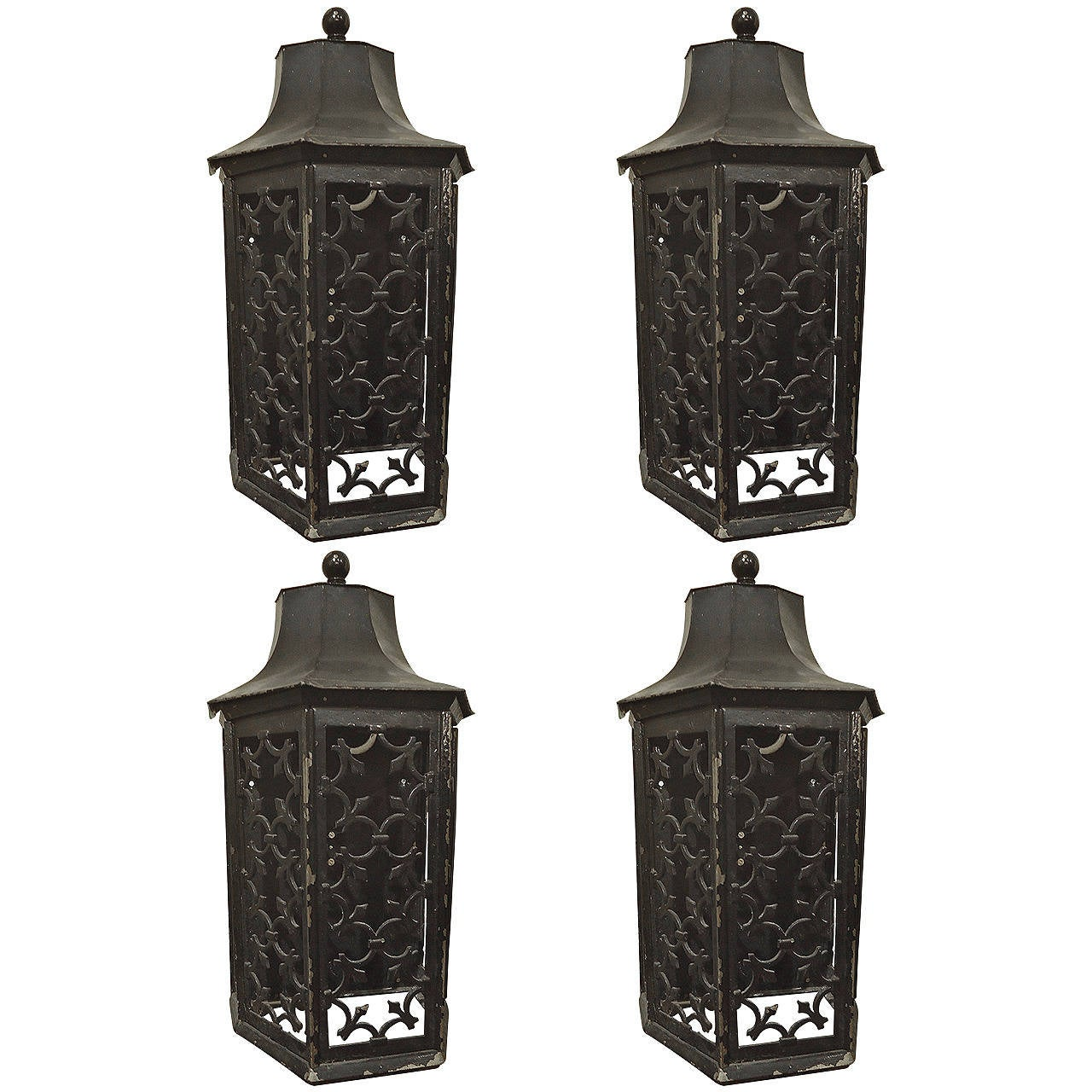 Lantern Style Wall Sconces : Four Tony Duquette Style Bronze Pagoda Lantern Sconces at 1stdibs
