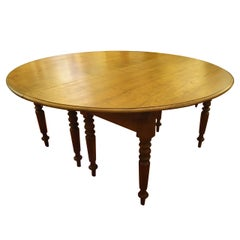French 19th Century Round Campaign Style Teak Dining Table