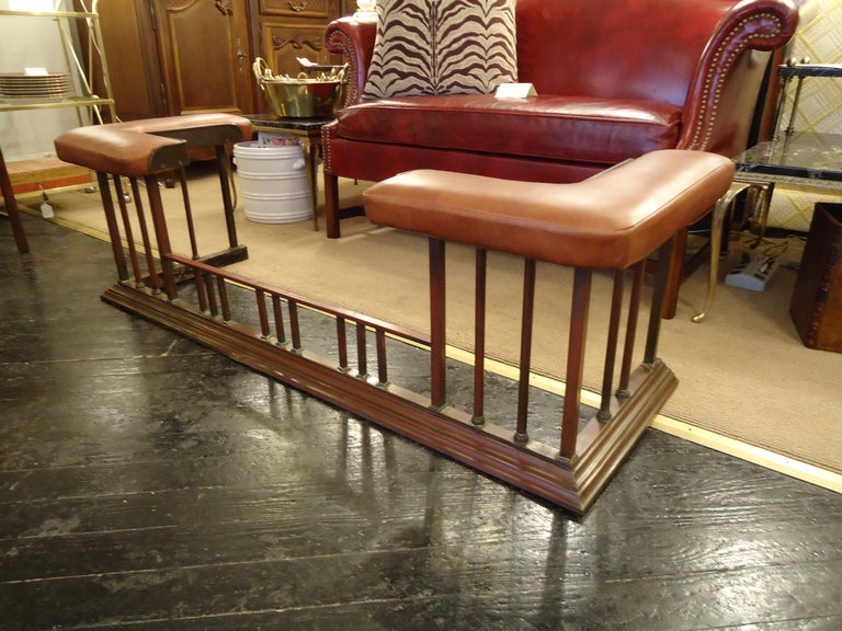 Antique English Copper And Leather Fireplace Fender At 1stdibs